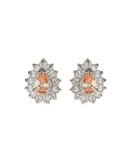 Mikey - Metallic Oval Cubic Marqise Stud Earring - Lyst