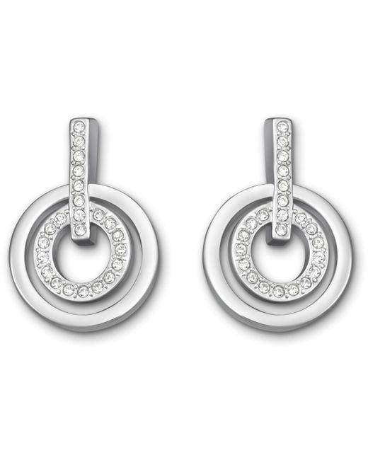 Swarovski | Metallic Circle Mini Pierced Earrings | Lyst