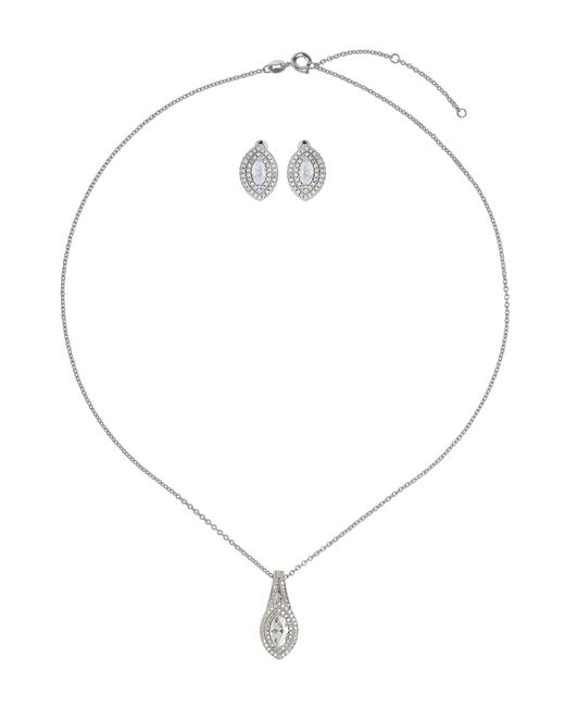 Mikey | White Cubic Eclipse Marquise Necklace Stud Set | Lyst