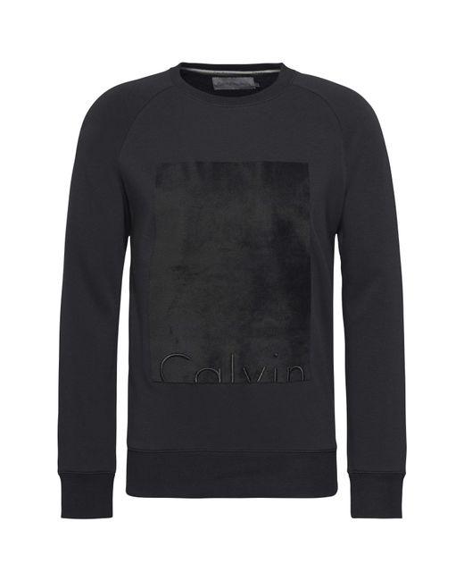 Calvin Klein   Black Howard Flocked Crew Neck Sweatshirt for Men   Lyst