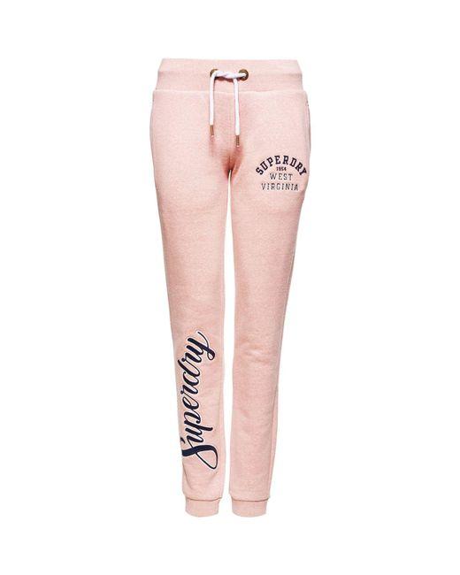 Superdry Pink Aria Applique Slim Joggers