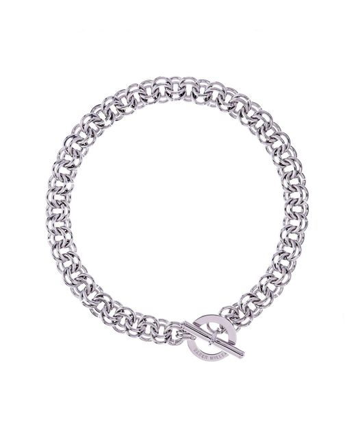 Karen Millen - Metallic Silver Encrusted Bar & Hoop Necklace - Lyst