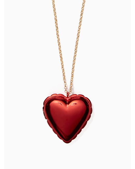 Kate Spade - Red Be Mine Heart Locket Necklace - Lyst