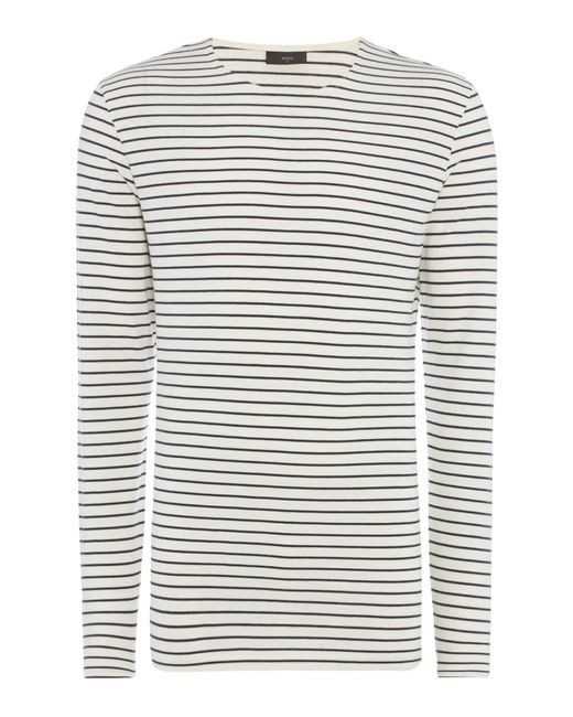 Minimum - White Striped Crew Neck T-shirt for Men - Lyst