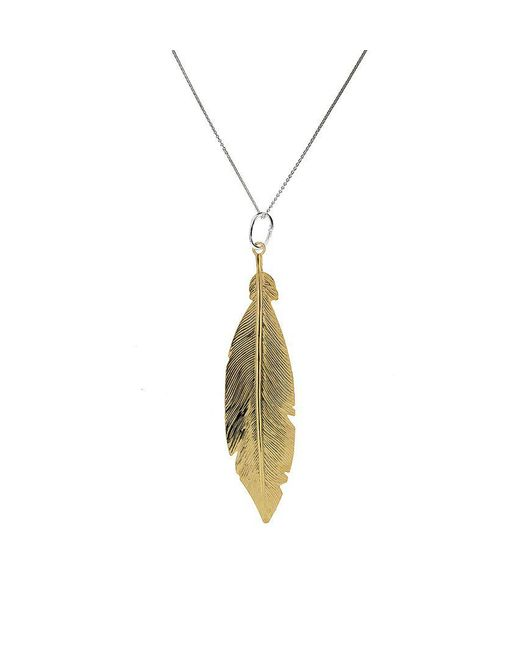 Azendi | Metallic Sterling Silver/18ct Gold Vermeil Feather Pendant | Lyst