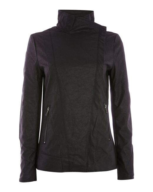 Andrew Marc | Black Pu Biker Jacket With Jersey Panels | Lyst