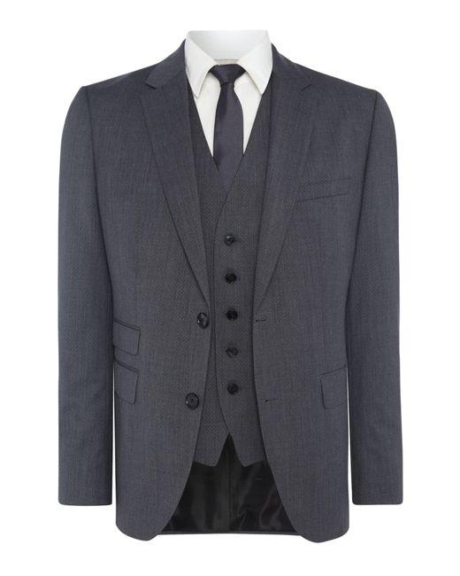 HUGO | Gray Jim-simmons Three Piece Regular Fit Textured Suit for Men | Lyst