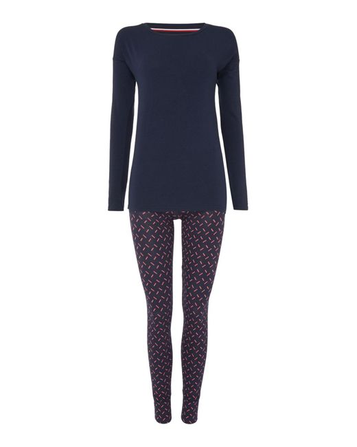 Tommy Hilfiger | Blue Iconic Pyjama Set With Printed Pant | Lyst