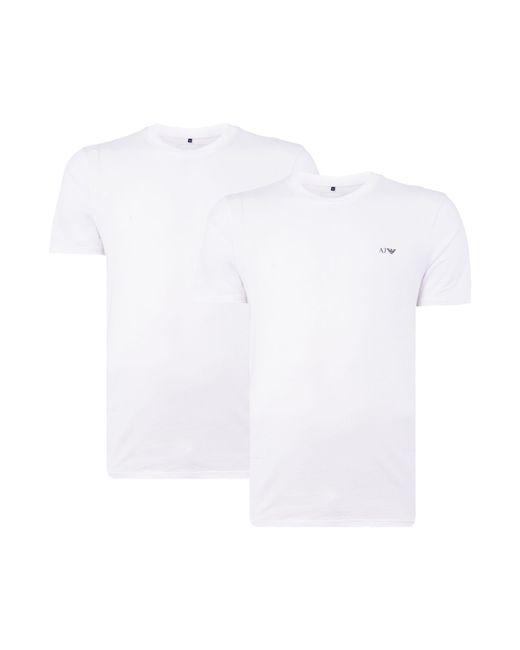 Armani Jeans | White Regular Fit Crew Neck T Shirt 2 Pack for Men | Lyst