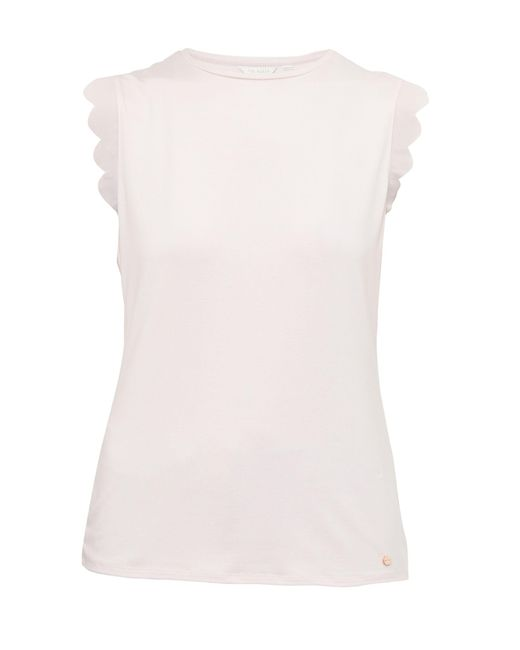 Ted Baker - Pink Elliah Scallop Detail Fitted T-shirt - Lyst