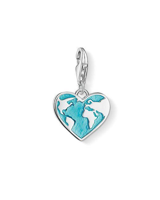 Thomas Sabo - Blue Charm Club Globe Heart Charm - Lyst