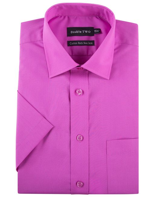 Double Two - Pink Plain Cotton Short-sleeved Shirt for Men - Lyst