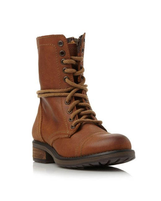 Steve Madden | Brown Troopa 2.0 Sm Leather Lace Up Calf Boot | Lyst