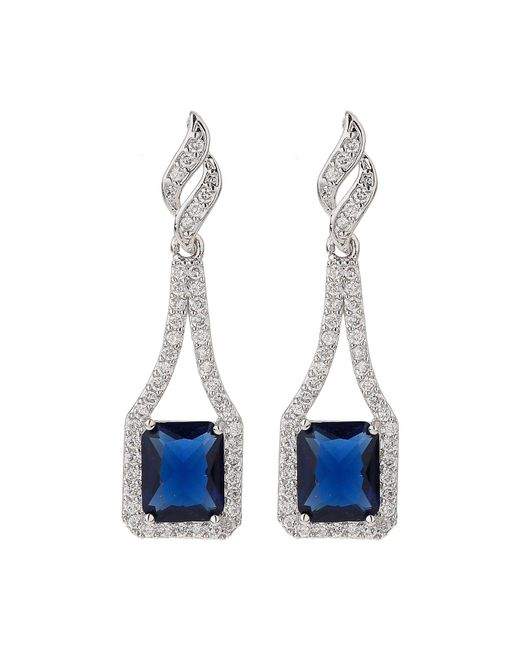 Mikey - Blue Edge Link Cubic Centre Drop Earring - Lyst