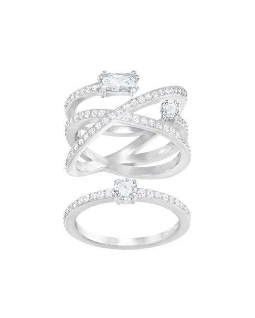 Swarovski - Metallic Grey Ring Set - Lyst