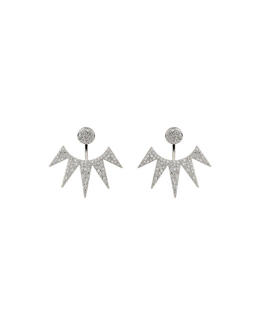 Mikey - Metallic Half Sun Cubic Cut Drop Stud Earring - Lyst
