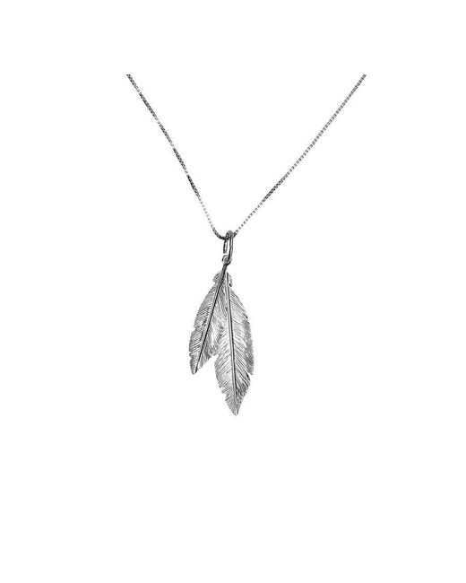 Azendi   Metallic Silver Twin Feather Pendant   Lyst
