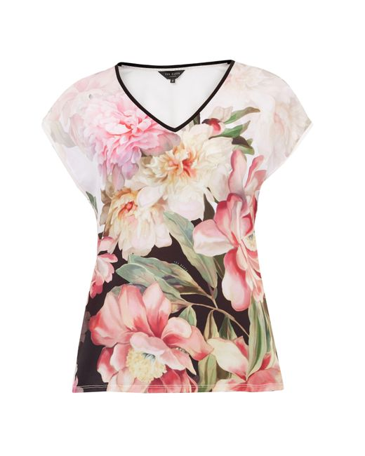 Ted Baker | Pink Ilenia Painted Posie Woven T-shirt | Lyst