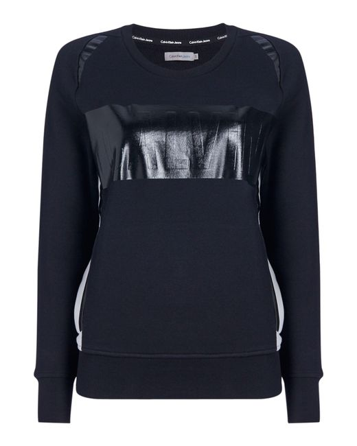 Calvin Klein | Black Long Sleeves Crew Neck Calvin Logo Sweater | Lyst