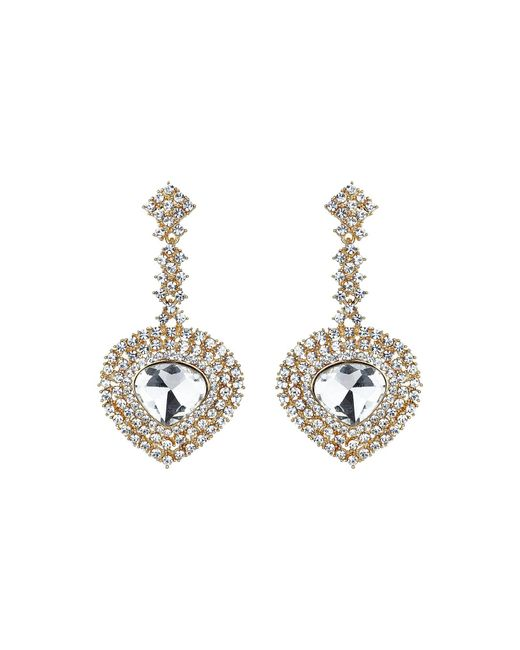 Mikey | Metallic Oval Crystal Long Drop Surround Earring | Lyst