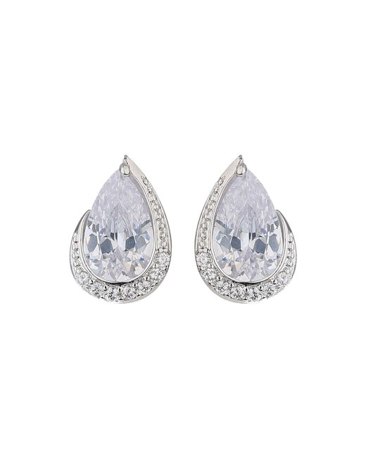 Mikey - Metallic Oval Cubic Edged Crystal Stud Earring - Lyst