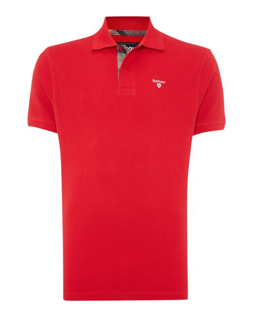 Barbour - Red Tartan Pique Polo for Men - Lyst
