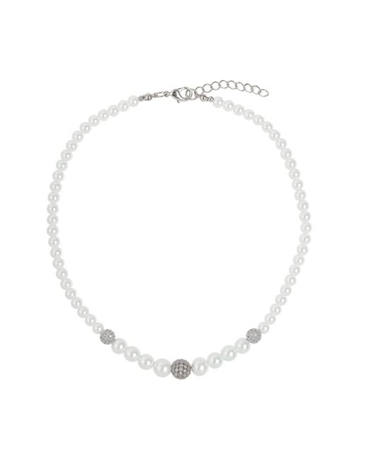 Mikey - White Multi Shiny 10 Cubic Ball Pearl Necklace - Lyst
