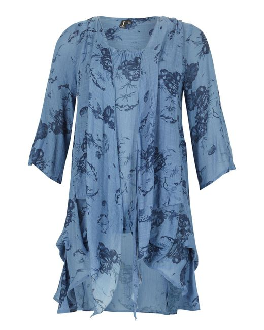 Izabel London | Blue Floral Artistry Drape Top | Lyst