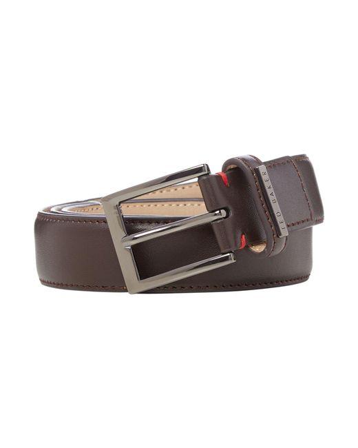 Ted Baker   Brown Leather Keeper Plate Belt for Men   Lyst
