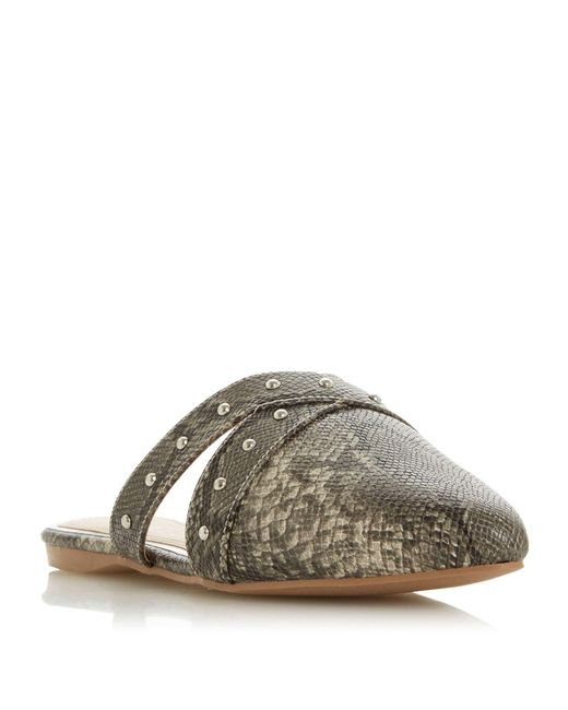Dune Gray Harria Backless Stud Point Shoes