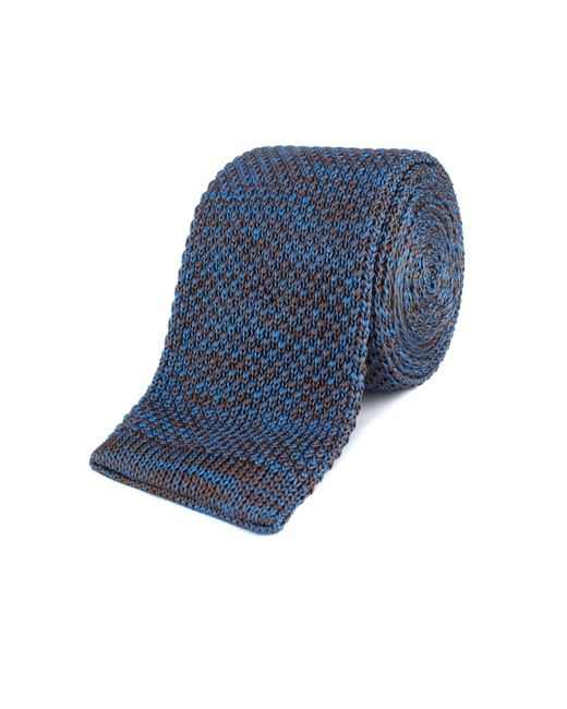 Gibson - Blue And Brown Melange Knitted Tie for Men - Lyst