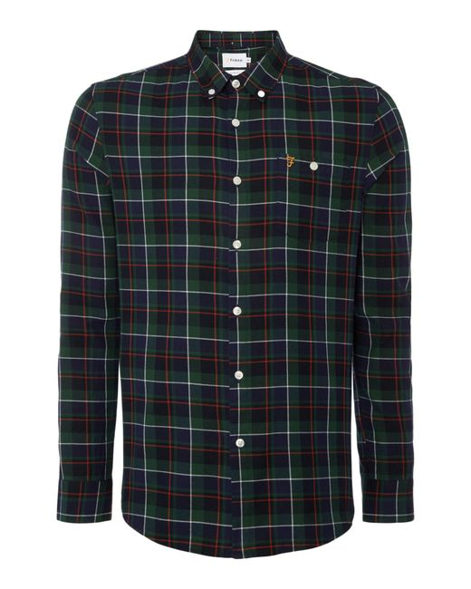 Farah - Green Finsbury Regular Fit Twill Check Shirt for Men - Lyst
