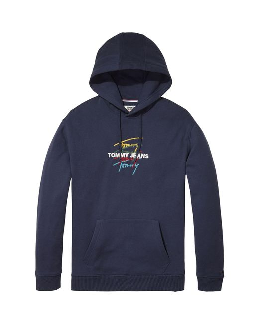 Tommy Hilfiger Blue Tommy Jeans Signature Logo Hoodie for men