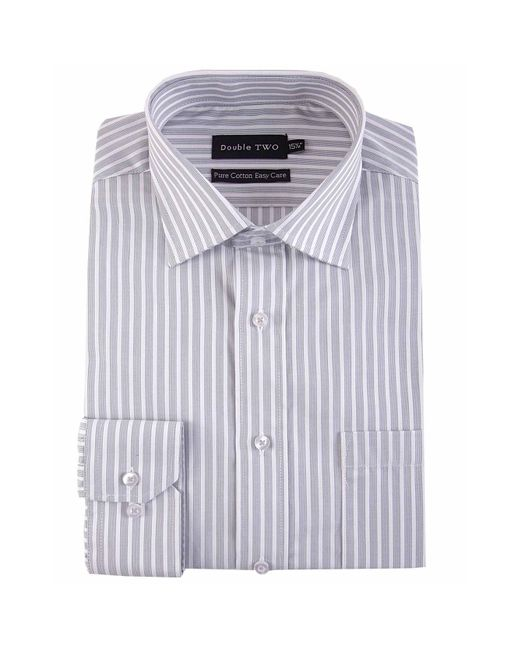 Double Two Gray Striped Band 100% Cotton Formal Shirt for men