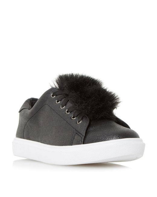 Dune - Black 'edna' Pom Pom Lace Up Trainers - Lyst