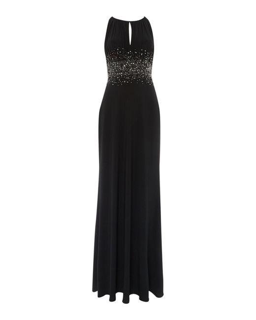 JS Collections   Black Jewel Waist Keyhole Maxi Dress   Lyst