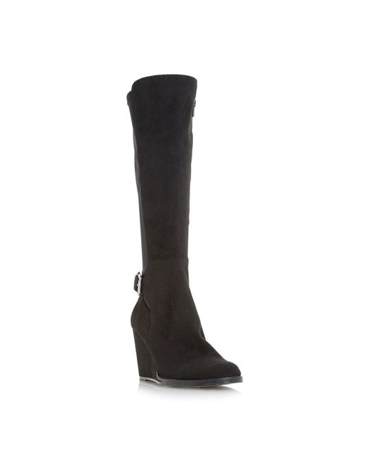 Dune Black Silantro Wedge Knee High Boots