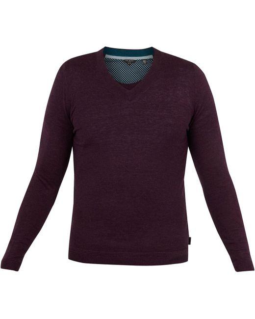 Ted Baker Purple Noel V-neck Wool Jumper for men