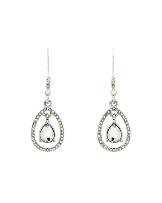Monet - Metallic Crystal Teardrop Open Earrings - Lyst