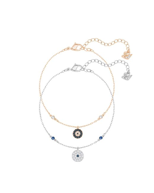 Swarovski | Metallic Crystal Wishes Evil Eye Bracelet Set | Lyst