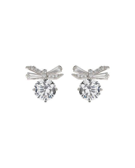 Mikey | Metallic Bow Brooch Baugette Cubic Stud Earring | Lyst