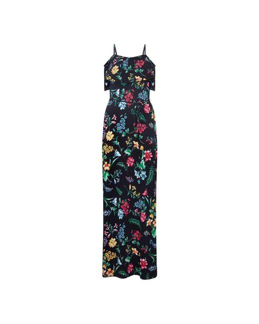 Yumi' Black Floral Printed Bardot Maxi Dress