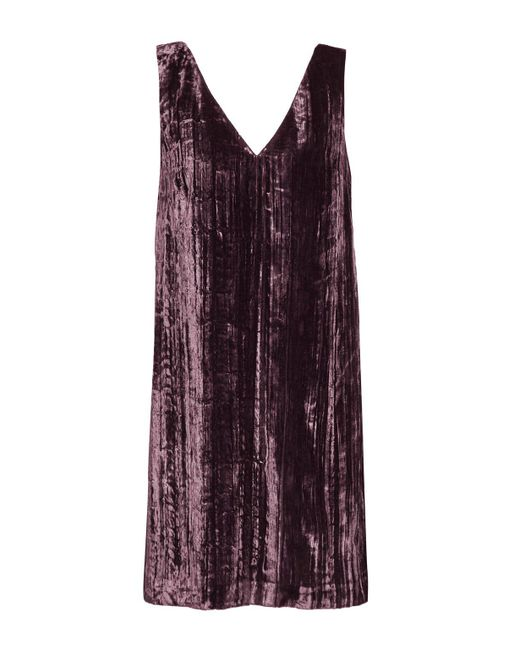 French Connection - Purple Theresa Velvet V Neck Dress - Lyst