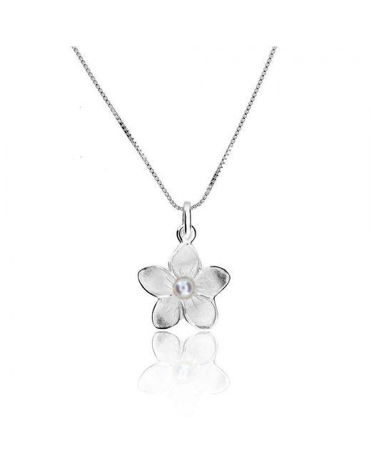 Azendi | Metallic Silver & Pearl Frosted Flower Pendant | Lyst