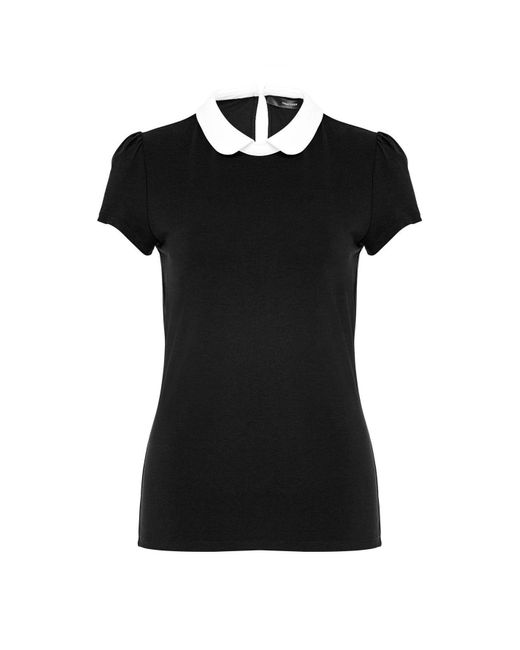 Hallhuber Black Rounded Collar Top