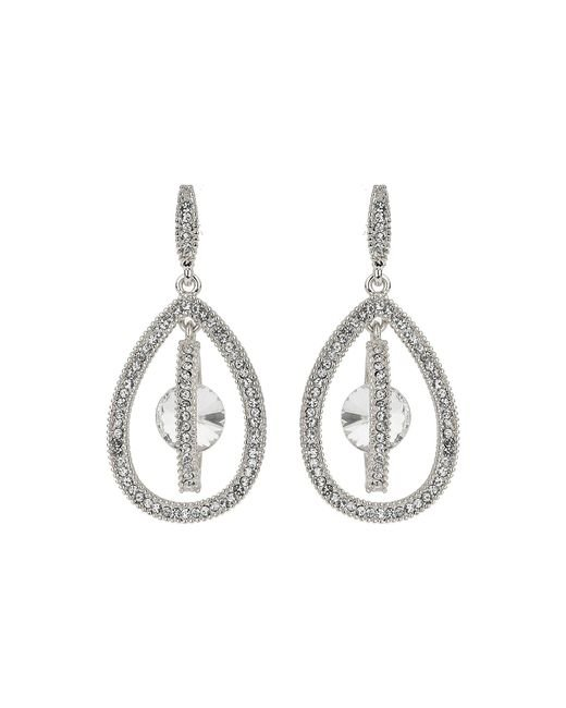 Mikey - Metallic Oval Design Dangling Crystal Earring - Lyst