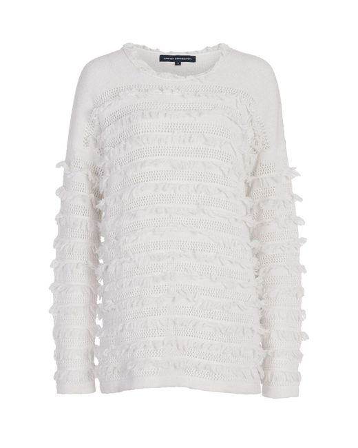 French Connection - White Pointelle Fringing Jumper - Lyst