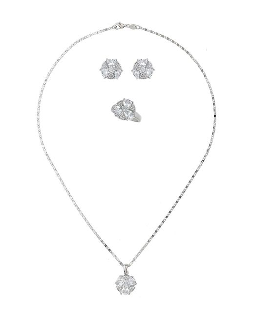 Mikey - White London Heart Crystal Round Necklace Earring - Lyst