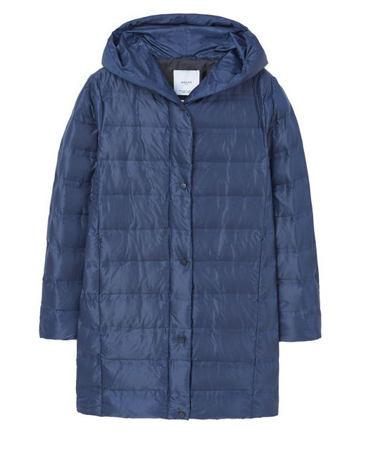 Mango | Blue Feather Down Hooded Coat | Lyst