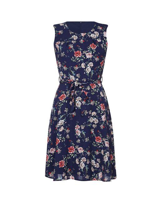 Yumi' Blue Oriental Blossom Print Skater Dress